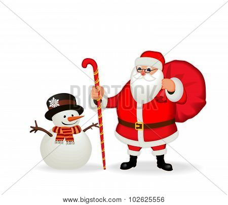 Funny friendly Santa Claus and snowman. Isolate, without gradients.