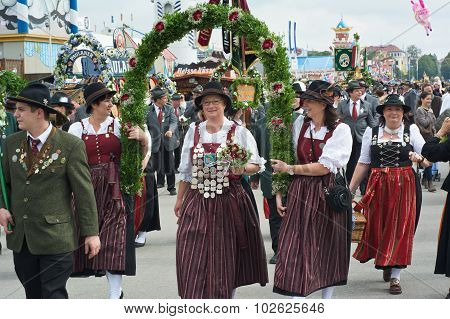 Traditional Costumes At The Oktoberest