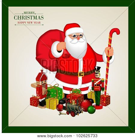 Merry Christmas and happy new year .Poster  with  Santa Claus with gift boxes ,  Wooden soldier ,nut
