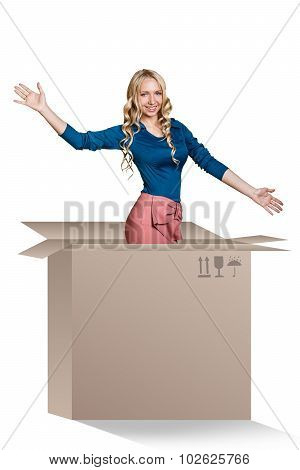 Beautiful girl inside a cardboard box