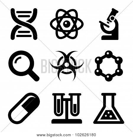Chemical Science Icons Set. Vector