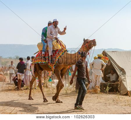 An Unidentified Men Attends The Pushkar Fair