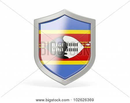 Shield Icon With Flag Of Swaziland