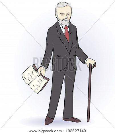 Senior man stands holding a book