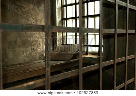 Wooden Bed In A Medieval Prison Cell