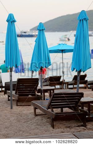 The beach of a Adriatic sea in Budva, Montenegro