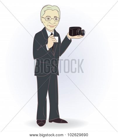 Portrait of old man with retro camera.  vector illustration