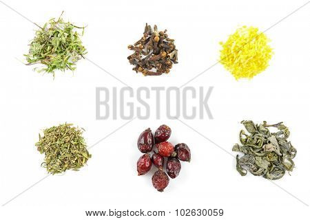 Various kinds of herbal tea and herbs isolated on white