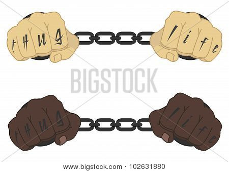 Fist with tattoo in chains