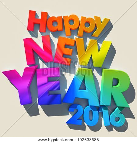 3D rendering of green letters with the message Happy New Year 2016