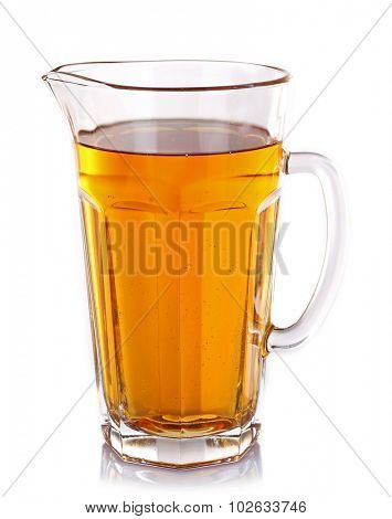 Full jug of apple juice isolated on white