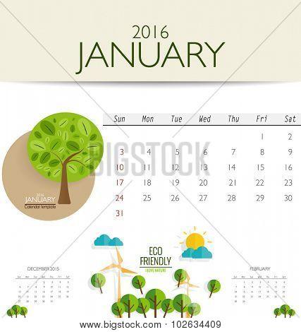 2016 calendar, monthly calendar template for January. Vector illustration.