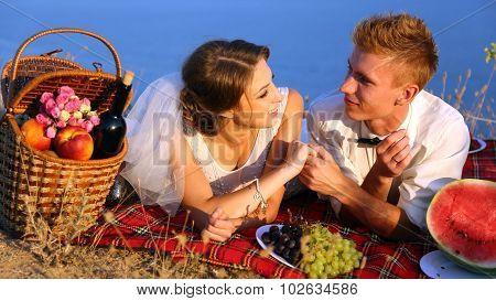 Wedding picnic on the coast