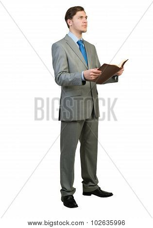 Businessman reading book