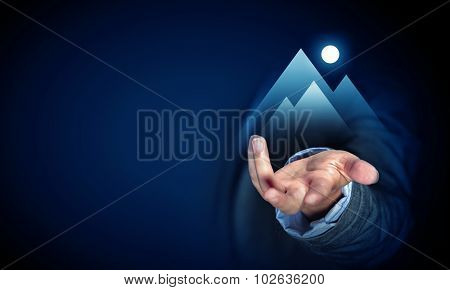 Close up of businessman hand showing success concept