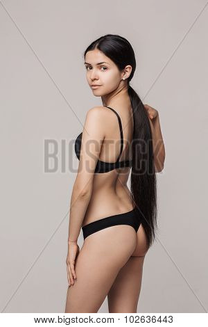 beautiful girl model with long hair