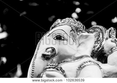 White  Ganesh Elephant Hindu God Statue Closeup Black And White