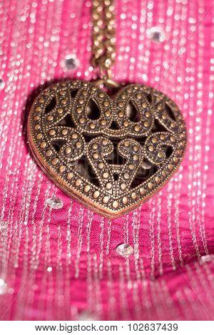 Heart Pendant On Silk