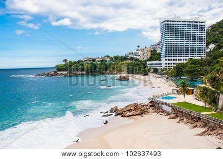 RIO DE JANEIRO - APRIL 27, 2015: West side of Ipanema beach on April 27, 2015 in Rio de Janeiro. Brazil.
