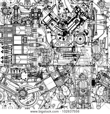 Creative seamless pattern made up of drawings  old motors.