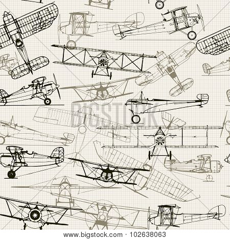 Vintage  seamless background. Stylized airplane illustration