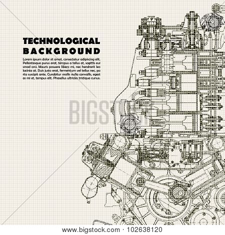 Technical background, drawing  engine and space for your text.