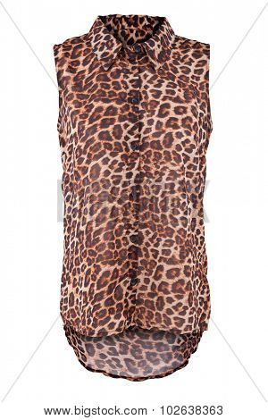 Sleeveless blouse with animal print