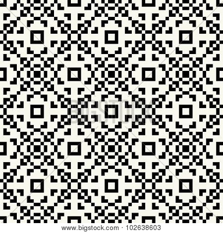 Trendy hipster Black and white pixel seamless pattern
