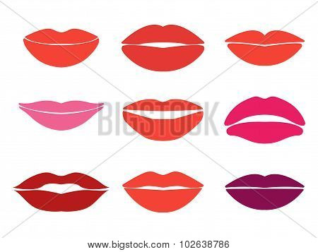 Woman lips. Vector set of lips silhouettes. Custom shapes, expressions and colors