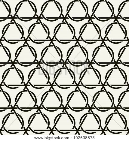Vector seamless pattern.  Repeating intertwining cordage, ropes.