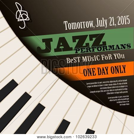 Jazz musician concert  poster with piano keys . Vector