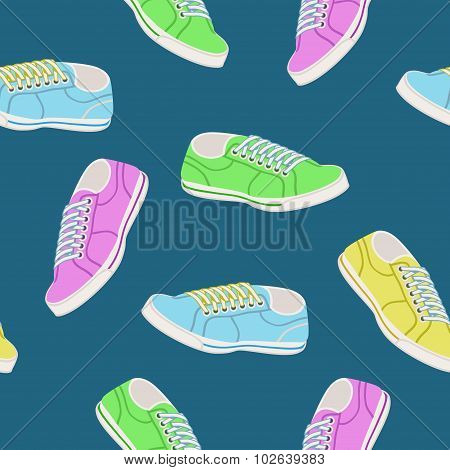 Seamless Background With Colored Trainers