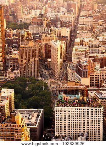 Aerial view of midtown Manhattan in New York City at sunset