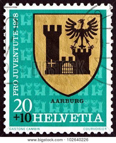 Postage Stamp Switzerland 1978 Aarburg, Communal Arms