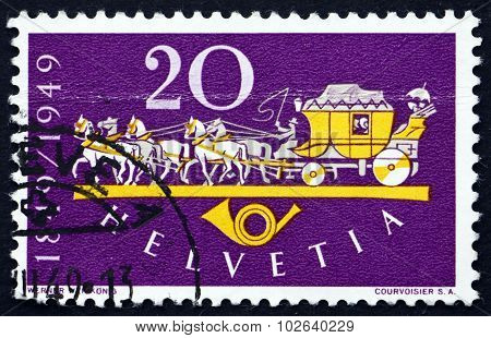Postage Stamp Switzerland 1949 Horse Drawn Mail Coach