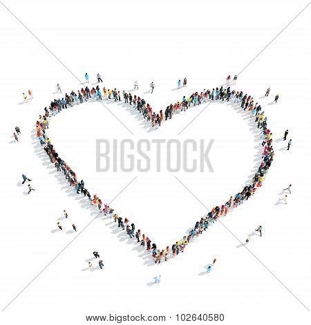 people  shape  heart cartoon crowd