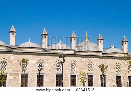 Mosque Or Islamic Palace Windows, Domes And Chimneys