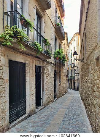 Narrow Street In Girona, Catalonia