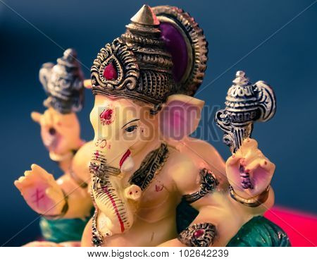Ganesh (ganapati- Elephant God) In Hindusim Mythology Closeup Hold The Weapons Maze And Axe Pose Rig