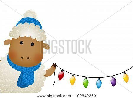 Cute little sheep with ligh bulbs