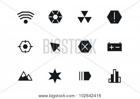 Outline vector UI technology icons set. Web net vector ui hud gui user interface for web and mobile. Application, web interface, GUI interface, UI interface icons, HUD web interface icons. Simple flat