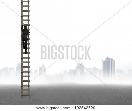 Rear View Of Businessman Climbing On Wooden Ladder