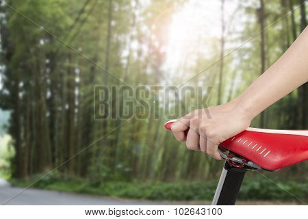 Closeup On Woman Hand Holding Bike Seat