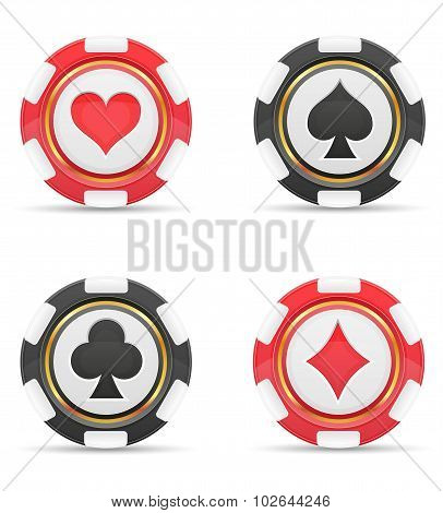 Casino Chips With Cards Suits Vector Illustration