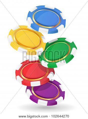 Colored Casino Chips Vector Illustration