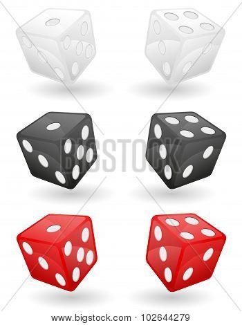 Colored Casino Dice Vector Illustration