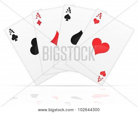 Playing Aces Of Different Suits Vector Illustration