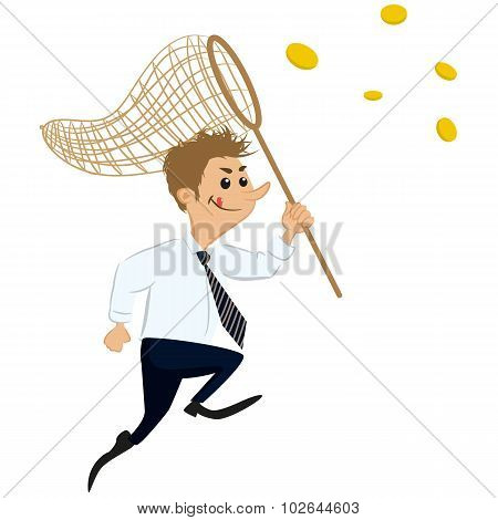 Businessman Catching Monney