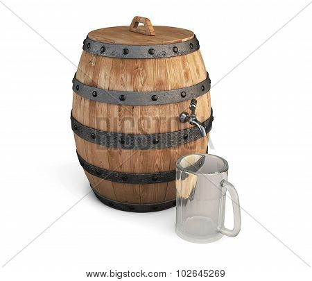 Barrel of beer and empty glass for beer isolated on white background.
