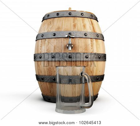 Barrel Of Beer And Empty Glass For Beer